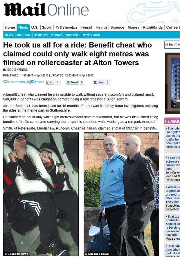 Joseph Smith alegava invalidez, mas foi flagrado andando de montanha-russa. (Foto: Reprodução/Daily Mail)