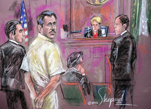 Ilustração representa a sessão do julgamento desta quinta (5) em Nova York, com Viktor Bout de branco (Foto: AFP/Shirley Shepard)