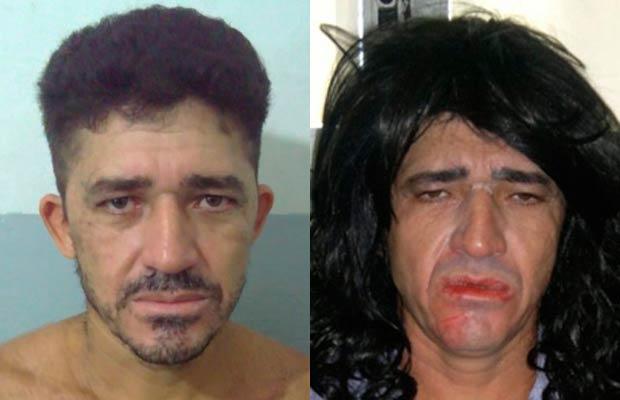 Preso usou vestido, unhas postiças e maquiagem para a fuga (Foto: Polícia Civil de Alagoas/Divulgação)