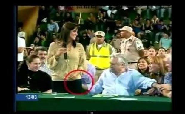 Percy Fernández foi flagrado no mês passado passando a mão no bumbum da vereadora. (Foto: Reprodução)