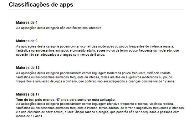 Classificação etária dos jogos do iTunes no Brasil (Foto: Reprodução)