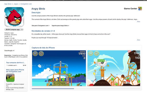 'Angry Birds' pode ser comprado em loja nacional do iTunes (Foto: Reprodução)