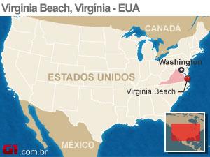mapa acidente aviao virginia (Foto: arte g1)