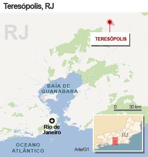 Mapa copm a localização de Teresópolis (Foto: Arte/G1)