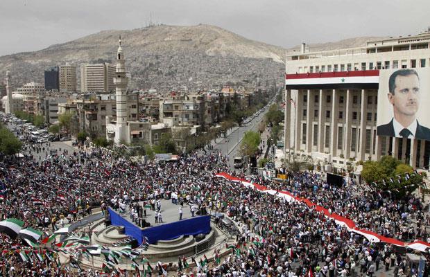 G1 milhares comemoram anivers rio do partido de bashar - Fotos de damasco ...