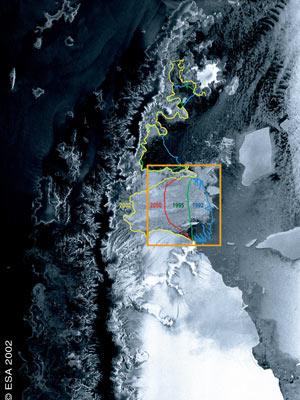 Visão da geleira feito pelo satélite  (Foto: ESA)