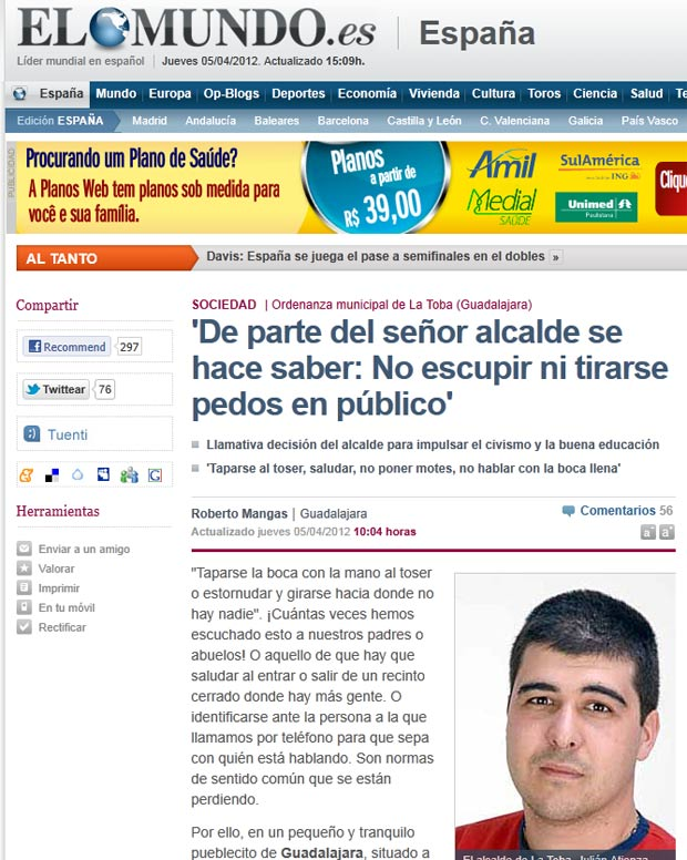 Prefeito Julián Atienza proibiu cuspir ou soltar gases em público em La Toba. (Foto: Reprodução/El Mundo)