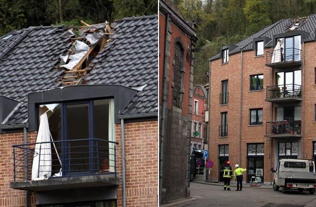 Aeronave ainda atingiu o telhado de um prédio durante a queda. (Foto: Michel Krakowski/AFP)