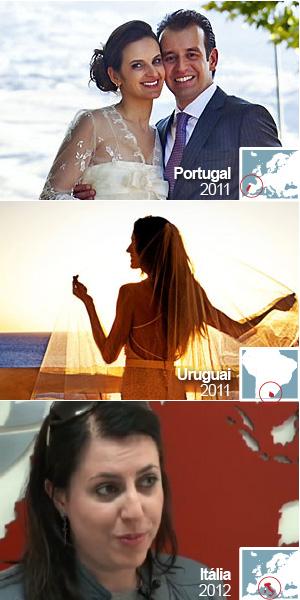 Alexandre Namour e Mariana Rodrigues Pimenta se casaram em vinícola em Portugal; Carol Scaff posa para foto após casamento em Punta del Este, no Uruguai; e Renata Salvadego, que se casará neste ano em um castelo na Toscana, Itália (Foto: Namour Photo e G1)