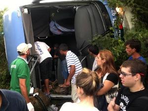 Ônibus trazia 40 passageiros de Fortaleza para Juazeiro do Norte (Foto: Alex Santana/ Iguatu.net)
