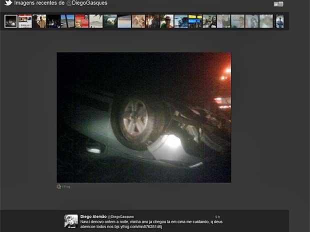 Diego Alemão postou no Twitter foto do carro capotado na Fernão Dias. (Foto: Reprodução / Twitter e Diego Alemão)