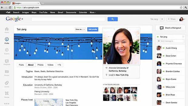 Google+ lançou uma nova página de perfil do usuário similar a Linha do Tempo, do Facebook (Foto: Reprodução)