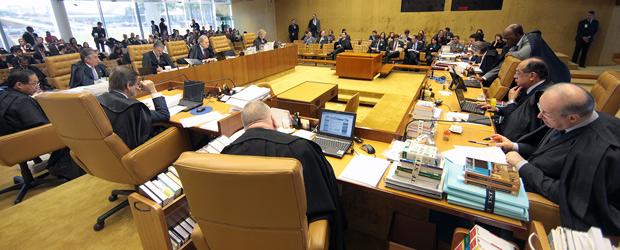 Ministros do Supremo durante julgamento sobre aborto de feto sem cérebro (Foto: Carlos Humberto / SCO / STF)
