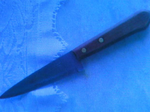 Faca usada pelo adolescente para matar a própria avó, de acordo com a polícia (Foto: Reprodução/EPTV)