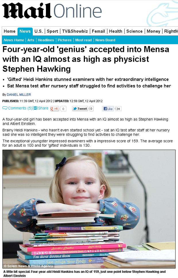 Heidi Hankins, de 4 anos, tem QI parecido ao de Stephen Hawking e Albert Einstein (Foto: Reprodução/Daily Mail)