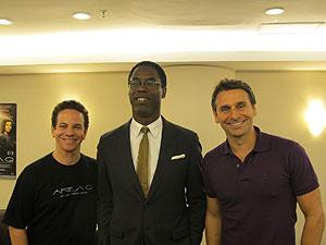 Ricardo Conti, Isaiah Washington e Murilo Rosa durante entrevista de divulgação do filme 'Área Q' (Foto: Cauê Muraro/G1)