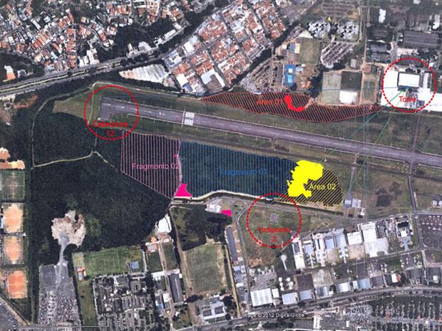 Áreas 1 e 2 (vermelha e amarela) terão a vegetação suprimida. Fragmentos 1 e 2 (lilás e azul) receberão parte do replantio (Foto: Divulgação/Secretaria do Verde e Infraero)