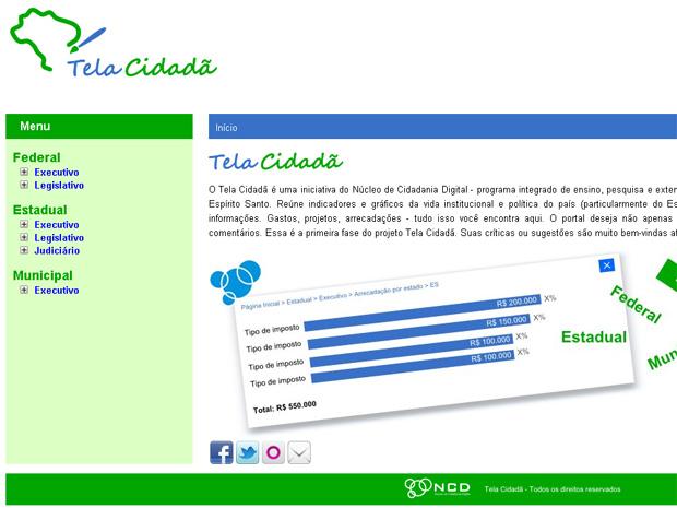 Portal Tela Cidadã (Foto: Reprodução/ Internet)