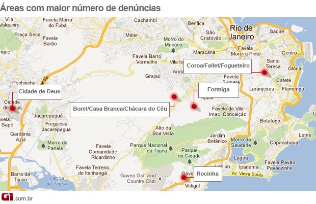 Mapa denúncias policiais em UPP (Foto: Arte/G1)