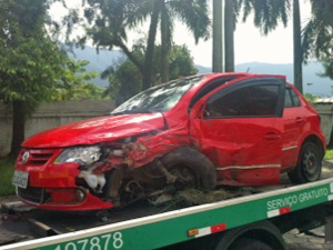 What is left of a stolen car after two auto thieves tried to escape pursuing police in Sao Paulo Saturday.