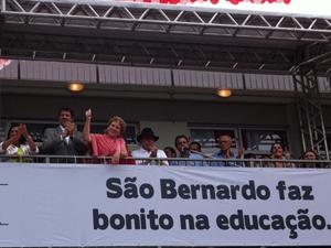 Lula, Haddad e Marta juntos em palanque durante inauguração de CEU em São Bernardo do Campo (Foto: Márcio Pinho/G1)