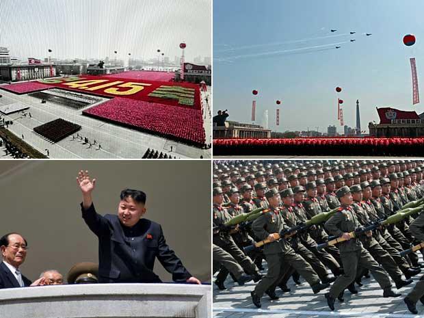 Desfile militar na Coreia do Norte comemora o centenário de nascimento de Kim Il-sung, fundador do país. (Foto: AP Photo)