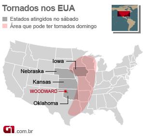mapa tornados eua 14/4 (Foto: arte g1)