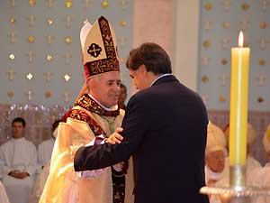 Pedro Serafim e o novo arcebispo de Campinas (Foto: Fernando Pacífico / G1 Campinas)