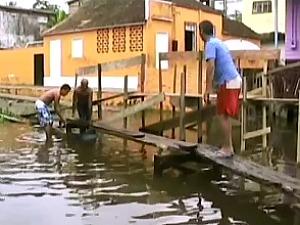 No centro da cidade, casas estão alagadas (Foto: Reprodução TV Amazonas)