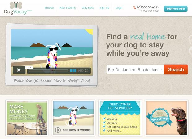 Site DogVacay, que busca casas para receber cães (Foto: Reprodução)