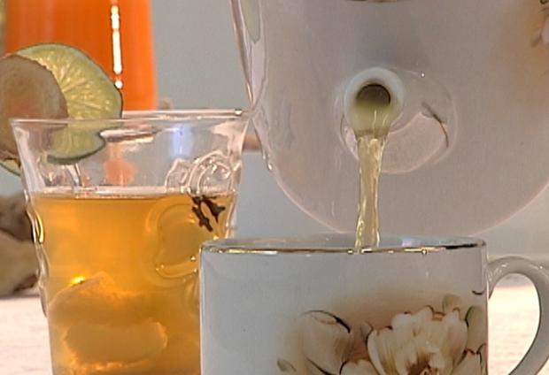 Chá de gengibre auxilia na digestão e evita queimações (Foto: Reprodução / TV Tem)