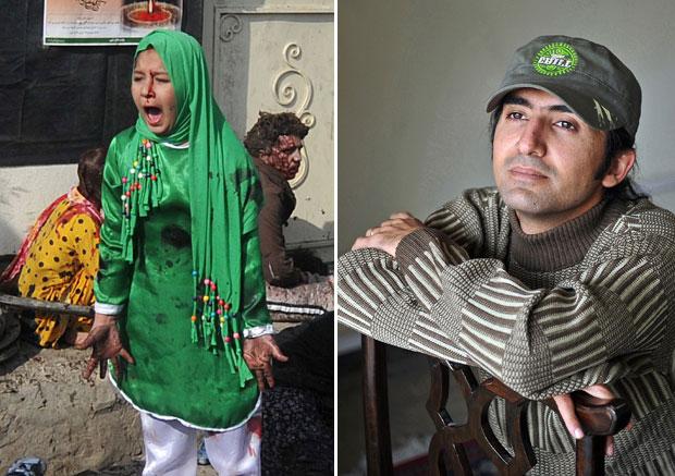 Massoud Hossaini (dir.), da France Presse, e parte da sua foto, que venceu o prêmio. Clique para ver a imagem por inteiro ( o conteúdo é forte) (Foto: AFP e AP/Pulitzer via AFP)