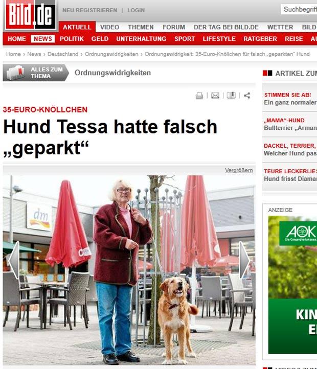 Ingeburg Kaminski foi multada por deixar cadela amarrada em local proibido. (Foto: Reprodução/Bild)