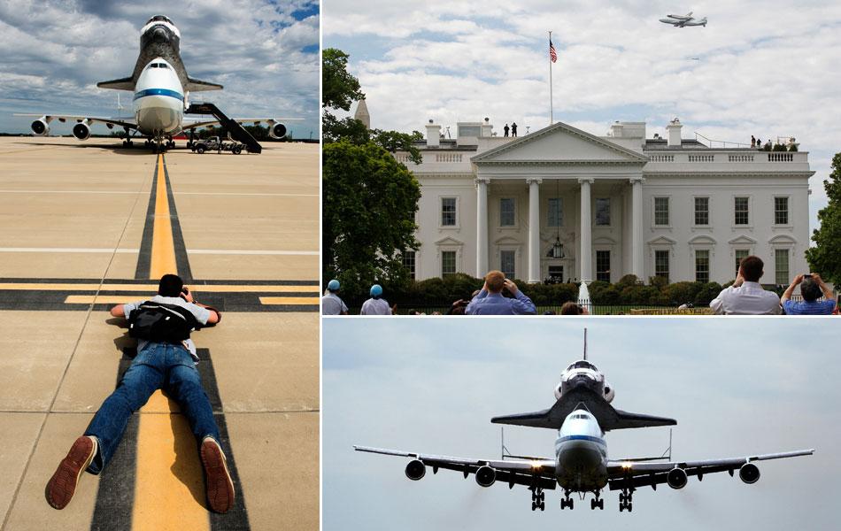 Ônibus espacial Discovery faz sua última viagem, pegando carona num avião até o anexo do Museu Nacional Aeroespacial Smithsonian, na Virgínia, nos arredores da capital Washington D.C...