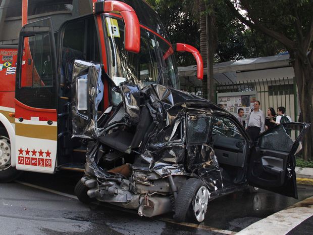 A woman walked away from a collision in Sao Paulo on Tuesday which totaled her Ford Fiesta