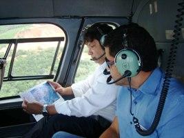 Secretário de Estado de Minas e Energia e superintendente do DNPM acompanham atividades de mapeamento (Foto: Divulgação)