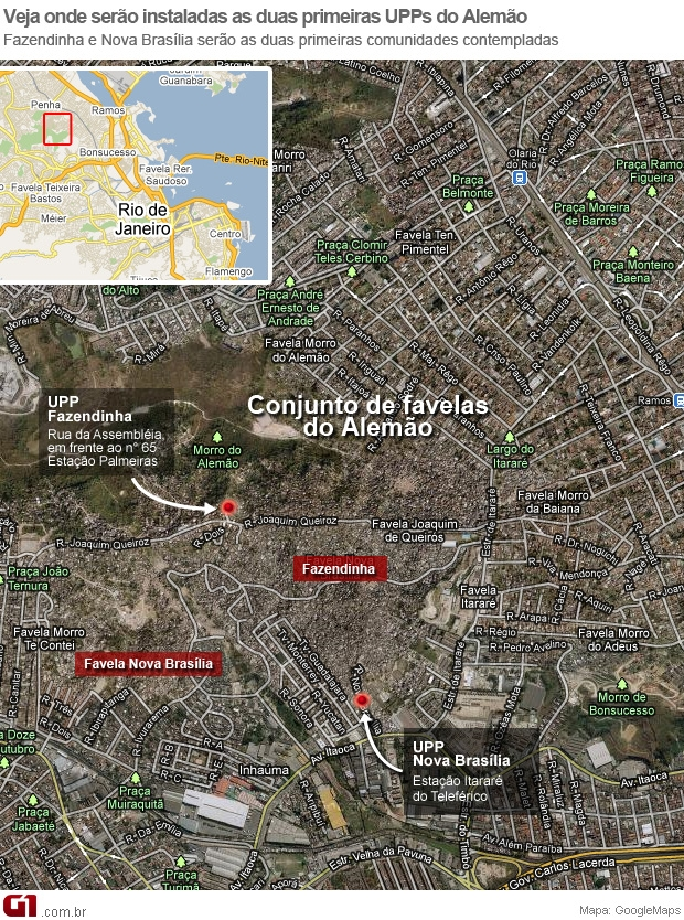 Mapa UPP no Alemão (Foto: Arte/ G1)