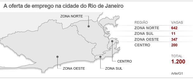 Mapa de empregos do Rio 18-04 (Foto: Arte/ G1)