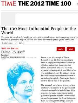 Dilma aparece novamente na lista de 100 mais influentes da 'Time' (Foto: Reprodução)