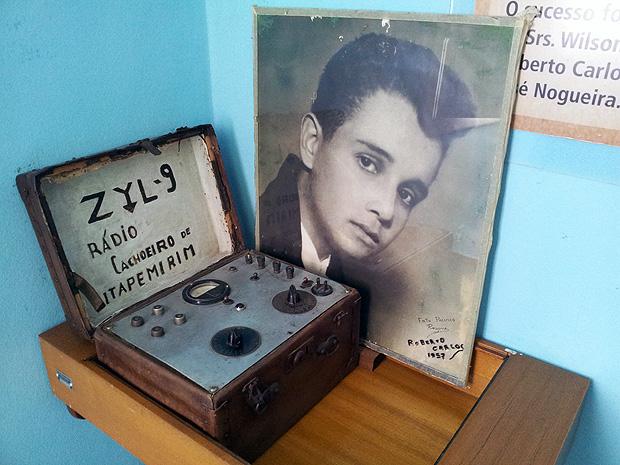 Transmissor da Rádio Cachoeiro prefixo ZYL-9, primeira rádio em que Roberto Carlos cantou (Foto: Amanda Monteiro/ G1 ES)