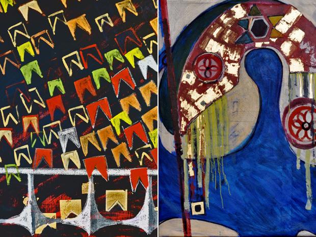 Pinturas da artista plástica mistura arquitetura e símbolos de Brasília (Foto: Divulgação)