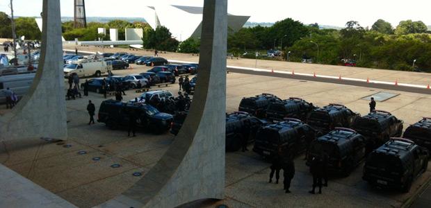 Posse de Ayres Britto, que conta com a presença da presidente Dilma Rousseff, tem forte esquema de segurança (Foto: Débora Santos / G1)
