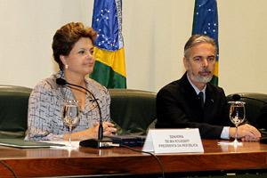 Dilma durante cerimônia de formatura de turma de diplomatas do Instituto Rio Branco (Foto: Roberto Stuckert Filho / Presidência)