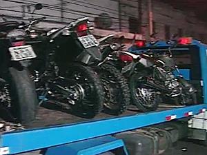 Motos apreendidas foram levadas para pátio da CPTran (Foto: Reprodução/TV Paraíba)