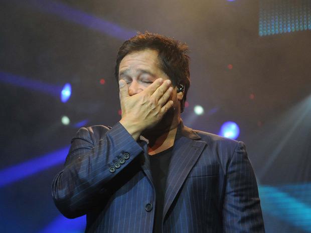 Cantor se emocionou durante o show ao lembrar do filho Pedro (Foto: Alexandre Durão/ G1)