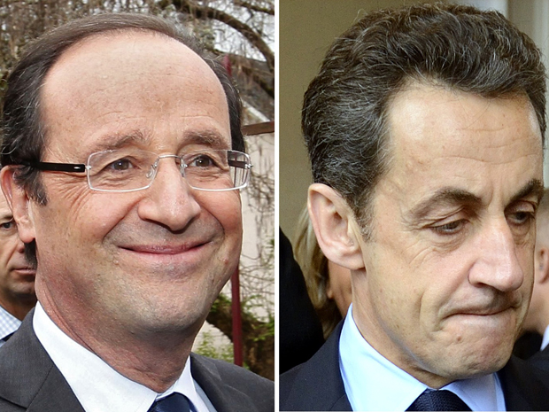 François Hollande (esquerda) e Nicolas Sarkozy (direita) (Foto: Reuters)
