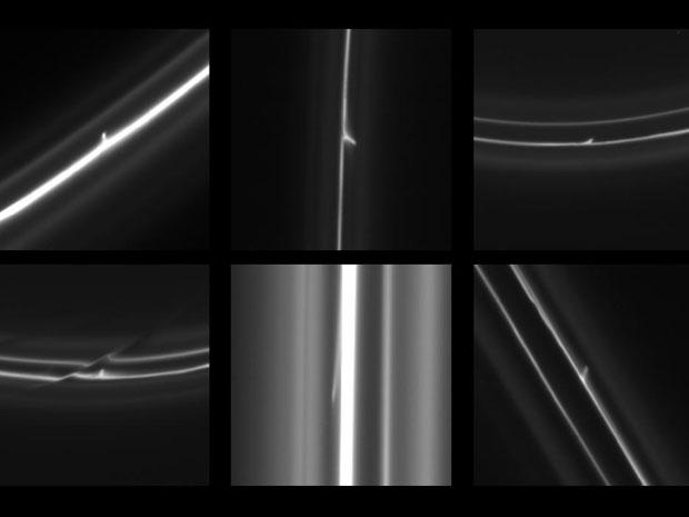 Jatos de gelo criados pela colisões dos objetos no anel F de Saturno. (Foto: NASA/JPL-Caltech/SSI/QMUL)