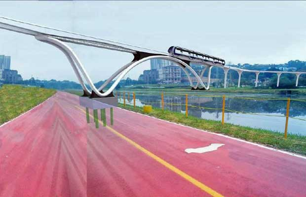Projeção da linha no Trecho Marginal Pinheiros - Panamby. Pilares do monotrilho serão erguidos ao lado da ciclovia. (Foto: Divulgação/Metrô)