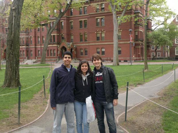 Brasileiros Gustavo Haddad, Tábata Amaral e João Henrique Vogel foram admitidos na Universidade de Harvard (Foto: Arquivo pessoal)