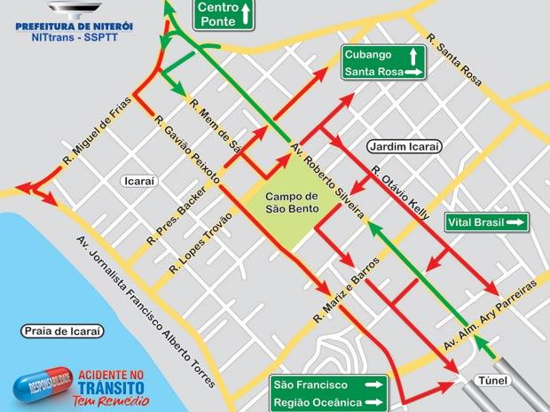 Mapa mostra mudanças no trafégo de Niterói (Foto: Divulgação/ Prefeitura Niterói)
